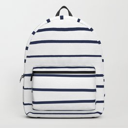 Pantone Blue Depths 19-3940 Hand Drawn Horizontal Lines on White Backpack