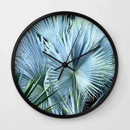 Hawaiian Tropical Island Succulents in Exotic Aqua Silver Wall Clock