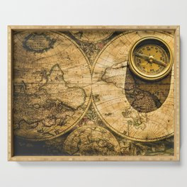 Vintage-Style World Map with Compass Wall Art #2 Serving Tray