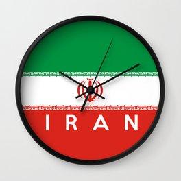 Iran country flag name text Wall Clock