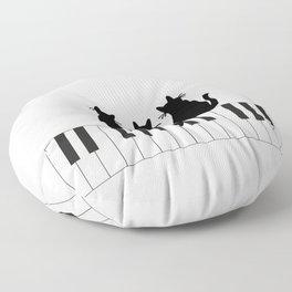Three black Cats Piano Music Floor Pillow