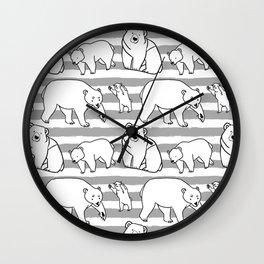 Bears B/W Wall Clock
