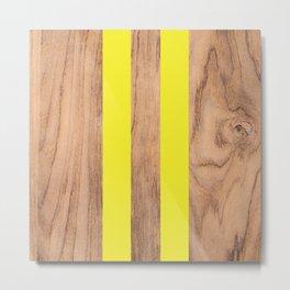 Striped Wood Grain Design - Yellow #255 Metal Print