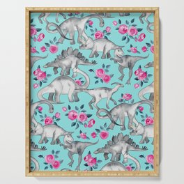 Dinosaurs and Roses - turquoise blue Serving Tray