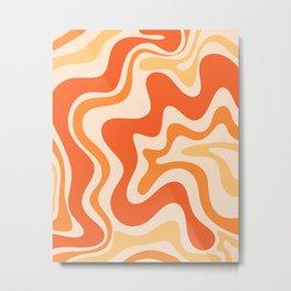 Tangerine Liquid Swirl Retro Abstract Pattern Metal Print