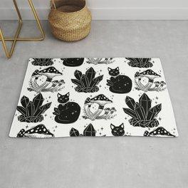 magic cat pattern, witch cat pattern, halloween cat pattern Rug