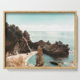 California Coast | Big Sur McWay Falls Coastal Camping Road Trip Tapestry Art Print Serving Tray