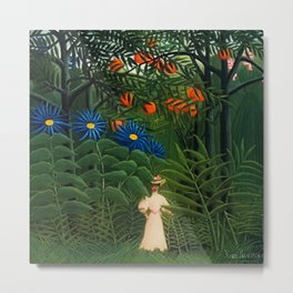 'Woman walking amid Tropical Blue Cornflowers in an exotic forest' by Henry Rousseau Metal Print