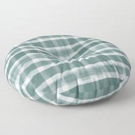 Watercolor Brushstroke Plaid Pattern Pantone Forest Biome 19-5230 Floor Pillow