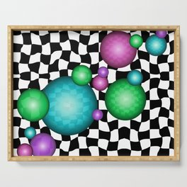 Trippy Bubbles On Black and White Checker Print Serving Tray