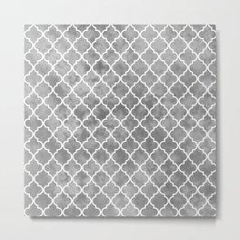 Soft Grey Morroccan Quatrefoil Art Deco Pattern Metal Print
