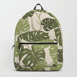 Cliff Hanger Monstera Leaf Hawaiian Print    Backpack