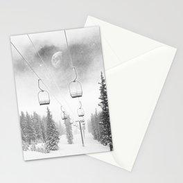 Ski Lift Moon Break // Riding the Mountain at Copper Colorado Luna Sky Peeking Foggy Clouds Stationery Cards