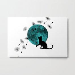 Turquoise Moon black Cat dandelions Metal Print