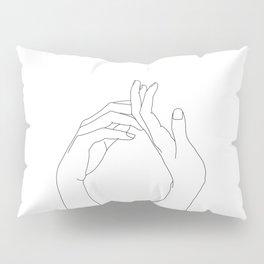 Hands line drawing illustration - Abi Pillow Sham