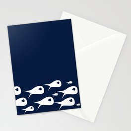Fish Stripe 2. Minimalist Mid-Century Modern Fish School in White on Nautical Navy Blue Solid Stationery Cards