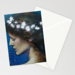 Woman with Luminous Diadems & Stars of Heaven female portrait painting by Edward Robert Hughes Stationery Cards