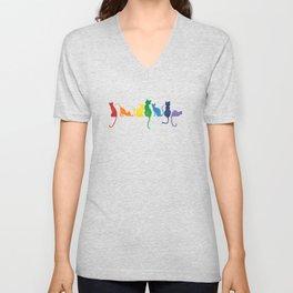 Rainbow Cats on a Wall Unisex V-Neck