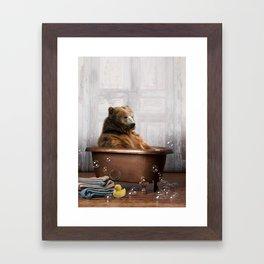 Bear with Rubber Ducky in Vintage Bathtub Framed Art Print