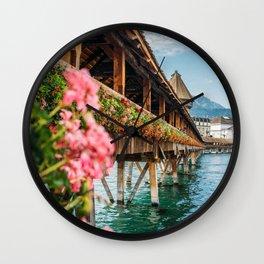 Lucerne Kapellbrücke - Switzerland Flowers and Lake Wall Clock