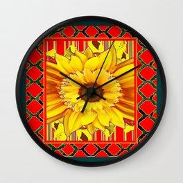 TEAL-RED & YELLOW SUNFLOWER DECO FLORAL Wall Clock