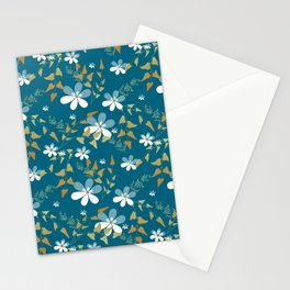 White flowers on a blue background . Stationery Cards
