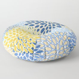 Modern, Floral Prints, Summer, Yellow and Blue Floor Pillow