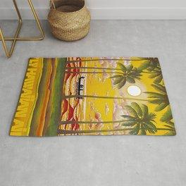 Surf Hawaii, Outrigger, Fly Hawaiian Air Vintage Travel Poster Rug