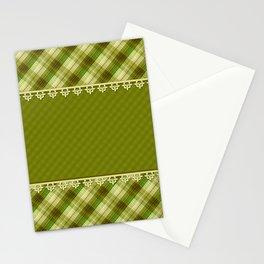 Olive plaid, plaid blanket, olive pattern, patchwork #folklore #rustic Stationery Cards