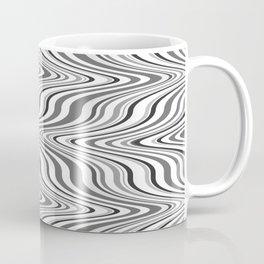 Moving curves optical illusion, black and white ikat pattern Coffee Mug