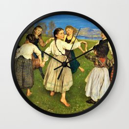 Children Dancing In A Ring - Hans Thoma Wall Clock