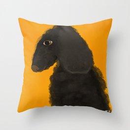 Black Poodle Side Profile Dog Portrait Throw Pillow