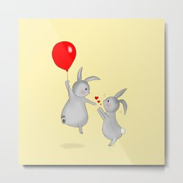 Bunny's with Balloon Metal Print
