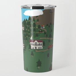 Mountain Town Illustration Travel Mug