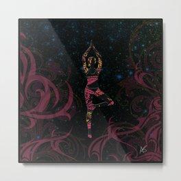 Yoga Tree Pose in Deep Mauve Metal Print