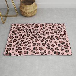450-Leopard animal skin pattern baby pink background Rug