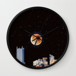Blood Moon Over Pittsburgh Pennsylvania Skyline-Night Sky and Stars Wall Clock