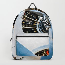 Legendary Vintage Aircraft Engine And Propeller On White Backpack