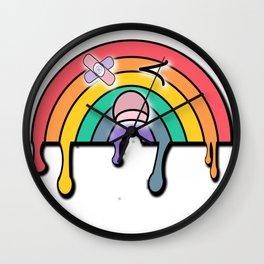 Rainy the yami kawaii sad rainbow Wall Clock