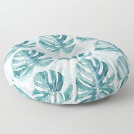 Monstera leaves Jungle leaves Turquoise Tropical Leaves Floor Pillow