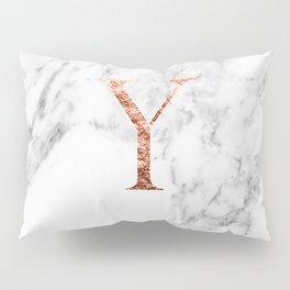 Monogram rose gold marble Y Pillow Sham