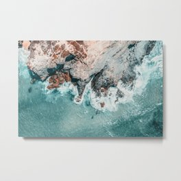 Ocean Print, Ocean Art, Printable Art, Waves Print, Ocean Rocks, Aerial Photography, Coastal Ocean Printable Wall Art Metal Print