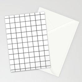 Grid Pattern Stripes Lines Black and White Minimalist Geometric Stripe Line Stationery Cards