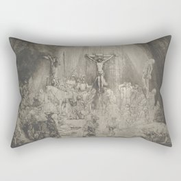 """Rembrandt - Christ Crucified Between the Two Thieves (""""The Three Crosses"""") (1653) Rectangular Pillow"""