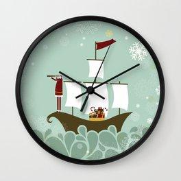 Santa and christmas sailboat Wall Clock