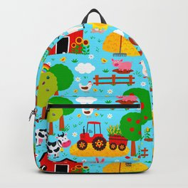Farm Animals Blue Sky Barnyard Pattern Backpack