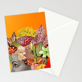 She Moves Mountains with an Orange Glow Behind Her  Stationery Cards