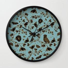 Orchid Owl Verdigris Wall Clock