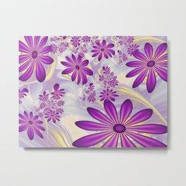 Fractal Art Dancing Purple Flowers Metal Print