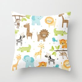 Jungle Animals Throw Pillow